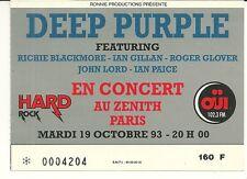 RARE / TICKET BILLET DE CONCERT - DEEP PURPLE : LIVE A PARIS ( FRANCE) 1993