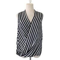 Forever21 White Black Striped Wrap Blouse Medium V-Neck Sleeveless Top