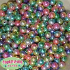 10mm Rainbow Multi color Pearl Finish Acrylic Bubblegum Beads Lot 50 pc.gumball