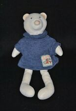 Peluche doudou ours blanc MOULIN ROTY grande famille pull bleu rayé 30 cm TTBE