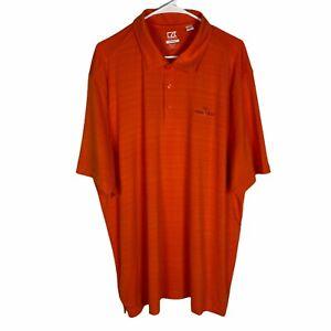 Heron Creek CB Drytec Polo Golf Shirt Mens 2XL Orange Striped Wicking Breathable