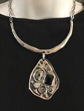 Bohm Modern Silver Geometric Jeweled Pendant Hammered Bar Signed Necklace-Nwot!