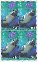 AUSTRALIA 1998 'PLANET OCEAN- WHITE POINTER SHARK' MNH BLOCK OF 4 x 45c STAMPS