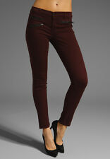 J BRAND 821 Zoey Triple Zip Stretch Skinny Jean in Lava, Maroon Merlot, Size 25
