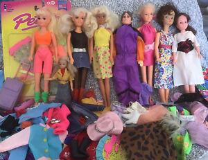 Large Bundle Of Vintage Sindy , Barbie & Pippa Clone Dolls , Clothes Etc. VGC