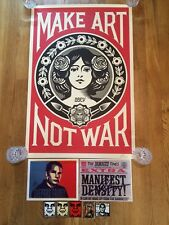 """OBEY Authentic Shepard Fairey Signed """"Make Art Not War Poster""""+Reprints+Stickers"""