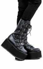 Demonia DAMNED-225 Black Vegan Leather Calf Length Boots Platform Straps O-Rings