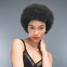 1B# Short Afro Curly Wig for Black Women Brazilian Virgin Human Hair Full Wigs