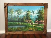 Primitive Jungle Oil Painting Canvas Tropical Village Tiki Framed Wall Art 45""