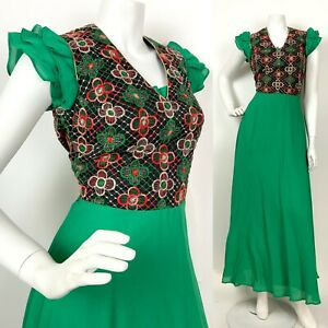 VINTAGE 60s 70s GREEN BLACK GOLD PINK FLORAL EMBROIDERED RUFFLE MAXI DRESS 6 8
