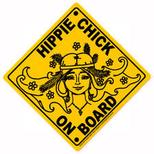 Hippie Chick On Board - Magnetic Bumper Sticker / Decal Magnet