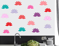 Lotus Flowers - Pack of 16 - Wall Art Stickers Leaf Leaves Floral Murals Decals