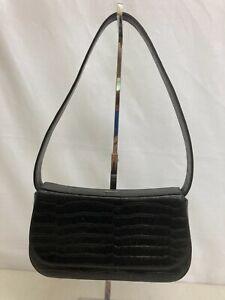 Bally Vintage Black Croc Pattern Shoulder Bag Small Leather Magnetic Closure
