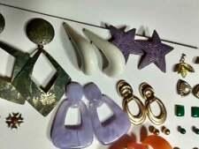 Retro Earrings, mixed lot, 70's - 80's rhinestone, plastic, metal assortment(16)