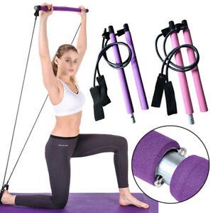 Tragbare Fitnessübung Pilates Bar Stick Yoga Gym Stick mit Widerstandsband AN
