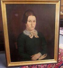 ANTIQUE EARLY AMERICAN FOLK ART PORTRAIT PAINTING OF LOVELY GIRL IN GREEN DRESS