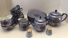 Noritake M Iridescent Blue Flowers Vase Lusterware Luncheon Tea Set 23 Pieces