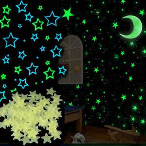 100PCS Green Luminous Star Wall Stickers Glow In The Dark Kids Room Décor Decal