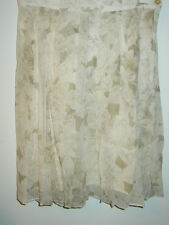 Vintage Ann Taylor beige tan floral pleated 100% silk skirt lined-8-NWT-$104.