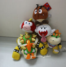 5x Super Mario Bros King Bowser Koopa bowser Plush toy Boo Ghost Goomba Pukupuku