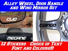 12x Personalised Stickers Alloy Wheel,Mirror,Handle,RENAULT CLIO MEGANE TWINGO