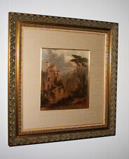 "Signed FREDERICK DeBourg RICHARDS Oil Painting, Frame, ""Temple of the Sybil"" COA"