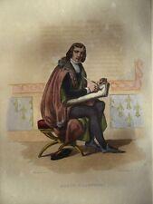 Gravure Aquaréllée XIXè - Alain Chartier - Chasselat -1835