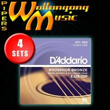 4 SETS: D'Addario EJ26 11-52 Phosphor Bronze CustomLight Acoustic Guitar Strings