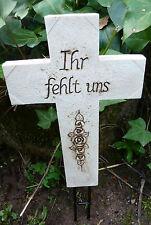 """Kreuz mit Erdspieß """"Ihr fehlt uns"""" Grabkreuz #723792"""