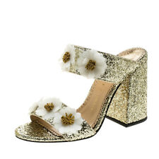 NEW CHARLOTTE OLYMPIA 36 US 5.5 Metallic Gold Glitter Rosette Block Heel Slides