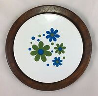 Vintage (1970's) Flower Power Pottery & Wood Trivet/Cheese Plate Takahashi EUC