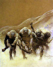 "FRANK FRAZETTA Fantasy Art Prints Canvas Textured Finish ""Neanderthal"".2.2"