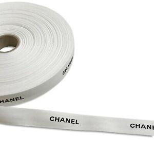 "Authentic Chanel Ribbon White Matte 1 Yard 1"" Wide Black Logo Gift Wrap Wrapping"