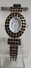Silver finish black Rhinestones bangle cuff fashion women's dressy party watch