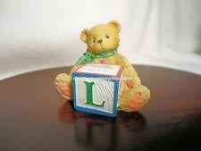 Cherished Teddies Bear With Abc L Alpha Letter Block 1995 Nib