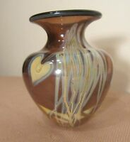 2003 hand blown glasshouse studio detailed feather pulled opal art glass vase