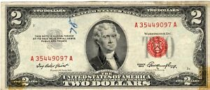 Nice Red Seal $2 Dollar Bill 1953 Circulated United States Note