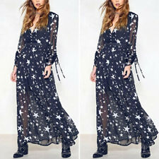 Fashion Women Long Sleeve Star Printed Formal Cocktail Dresses Long Dress Loose