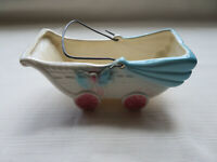 Baby Carriage Ceramic Planter - Nursery Pink & Blue Baby Buggy - Vintage (F5)