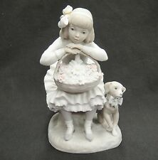 Lladro Sitting Girl with Flowers Basket and Puppy Dog Bisque Porcelain Figurine