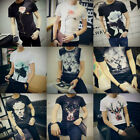 Men's Fashion Print Graphic Tee Short Sleeve T-Shirts Casual Slim Fit Summer