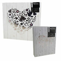 "Photo Album Wedding - White & Silver ""Floral Heart & Birds"" Design - Choose Size"