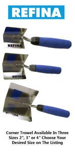 """Refina Inside/Internal Stainless Steel Plasterers Corner Trowel Choose 2"""" 3"""" 4"""""""