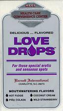 vtg condom machine decal sticker vending NOS Love Drops Sensuous