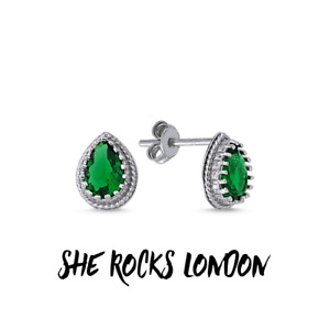 RHODIUM PLATED 925 SILVER STUD EARRINGS SOLITAIRE SET PEAR CUT CUBIC ZIRCONIA