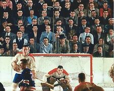 JACQUE PLANTE 8X10 PHOTO HOCKEY MONTREAL CANADIENS NHL GAME ACTION IN GOAL COLOR