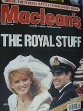 Maclean's Magazine August 4, 1986 Sarah & Andrew Wedding