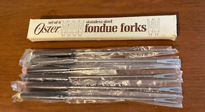 VTG MCM Oster Fondue Forks Set -  6 Stainless Steel Teak Wood Handle Color Coded