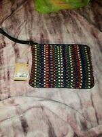 NWT Patricia Nash Cassini Beaded Leather Wristlet Purse Bag Blue Forest Bead