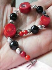 "8"" L Bracelet Red Coral Pieces,  Red Silver & Black Beads Toggle Closure"